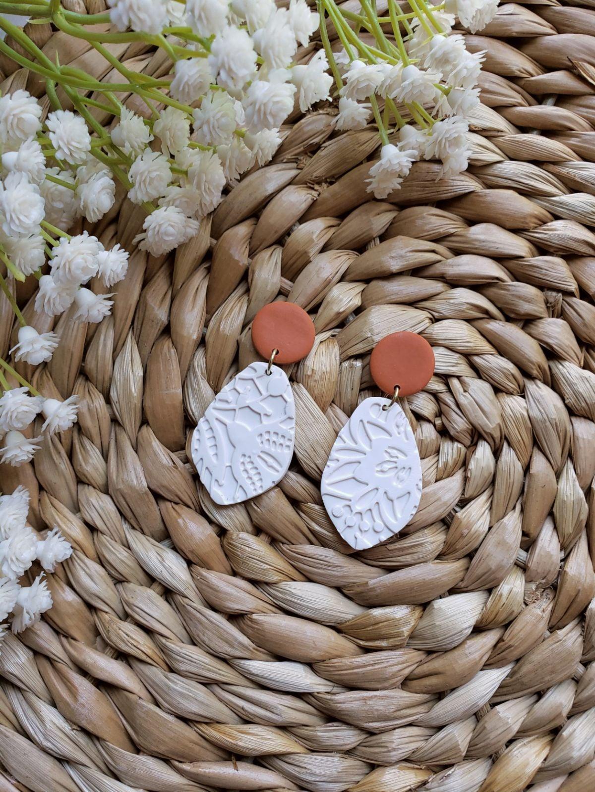 Burnt Orange Handmade Clay Drop Earrings