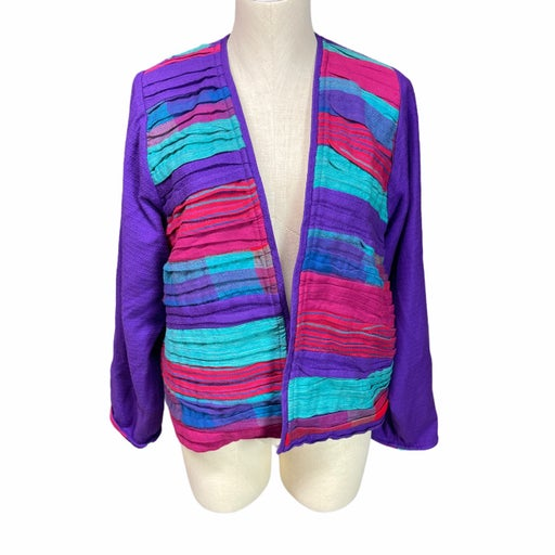 Vintage 1980s Crystal Purple, Pink, Turquoise Patchwork Jacket Small