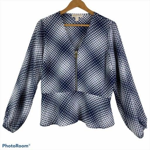 MICHAEL KORS Navy Blue Plaid Long Sleeve Blouse