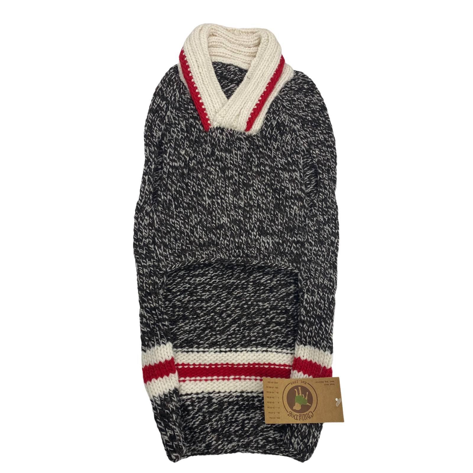 Large Black Hand Knit Wool Dog Sweater