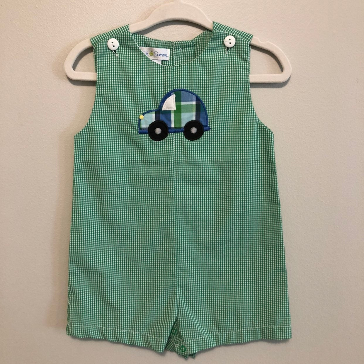Boys' Car Applique Green Shortall