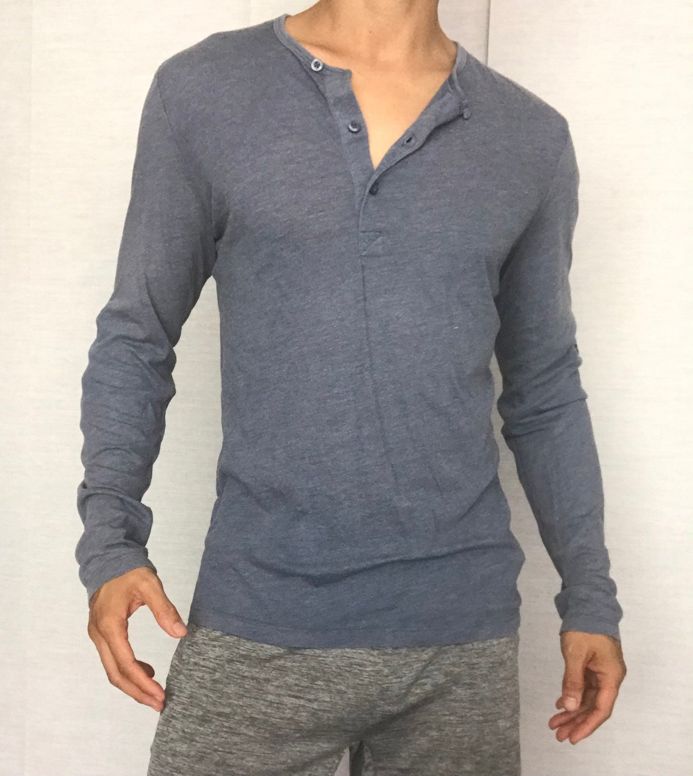 H&M long sleeve fitted henley mens