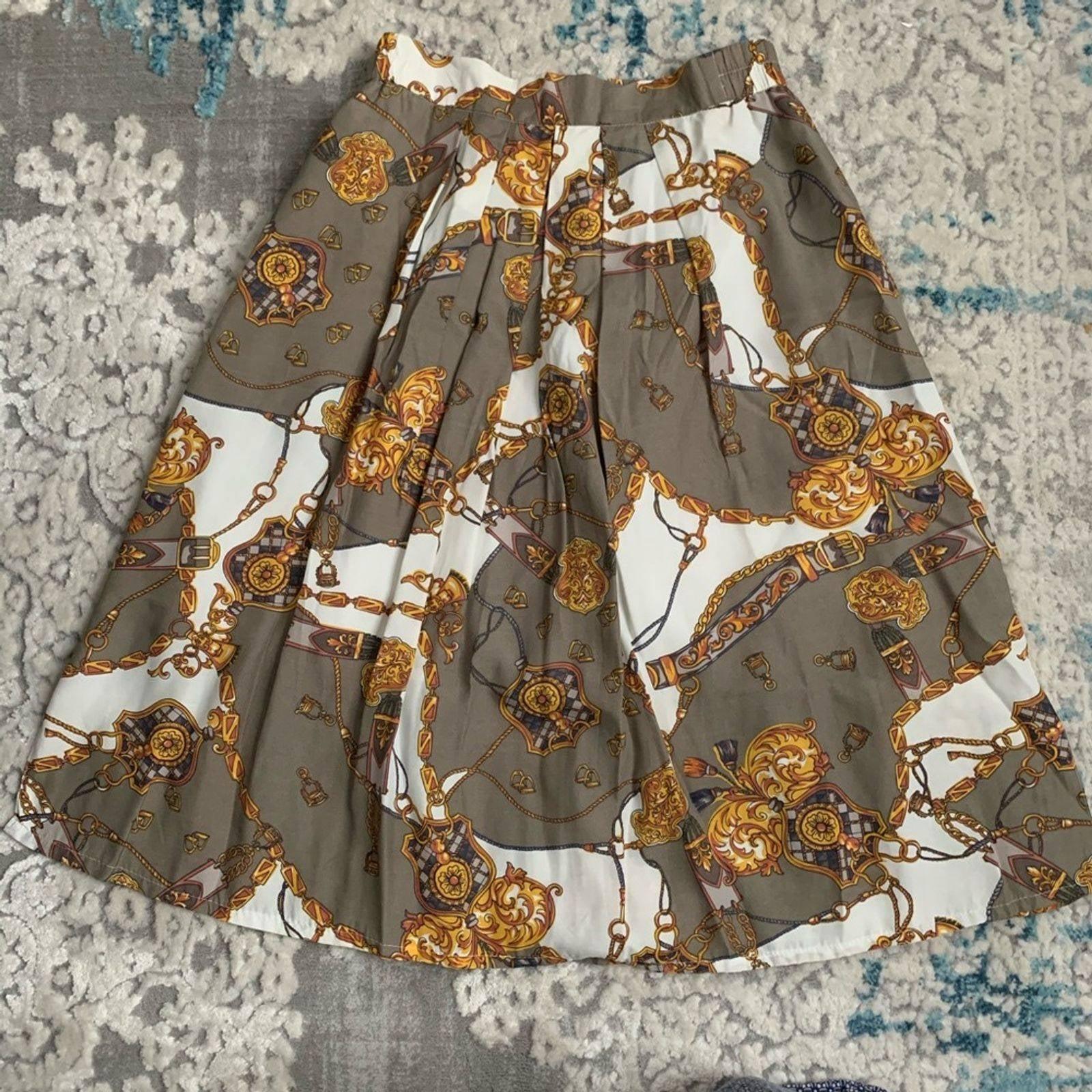 Vintage Pleated Chain print midi skirt