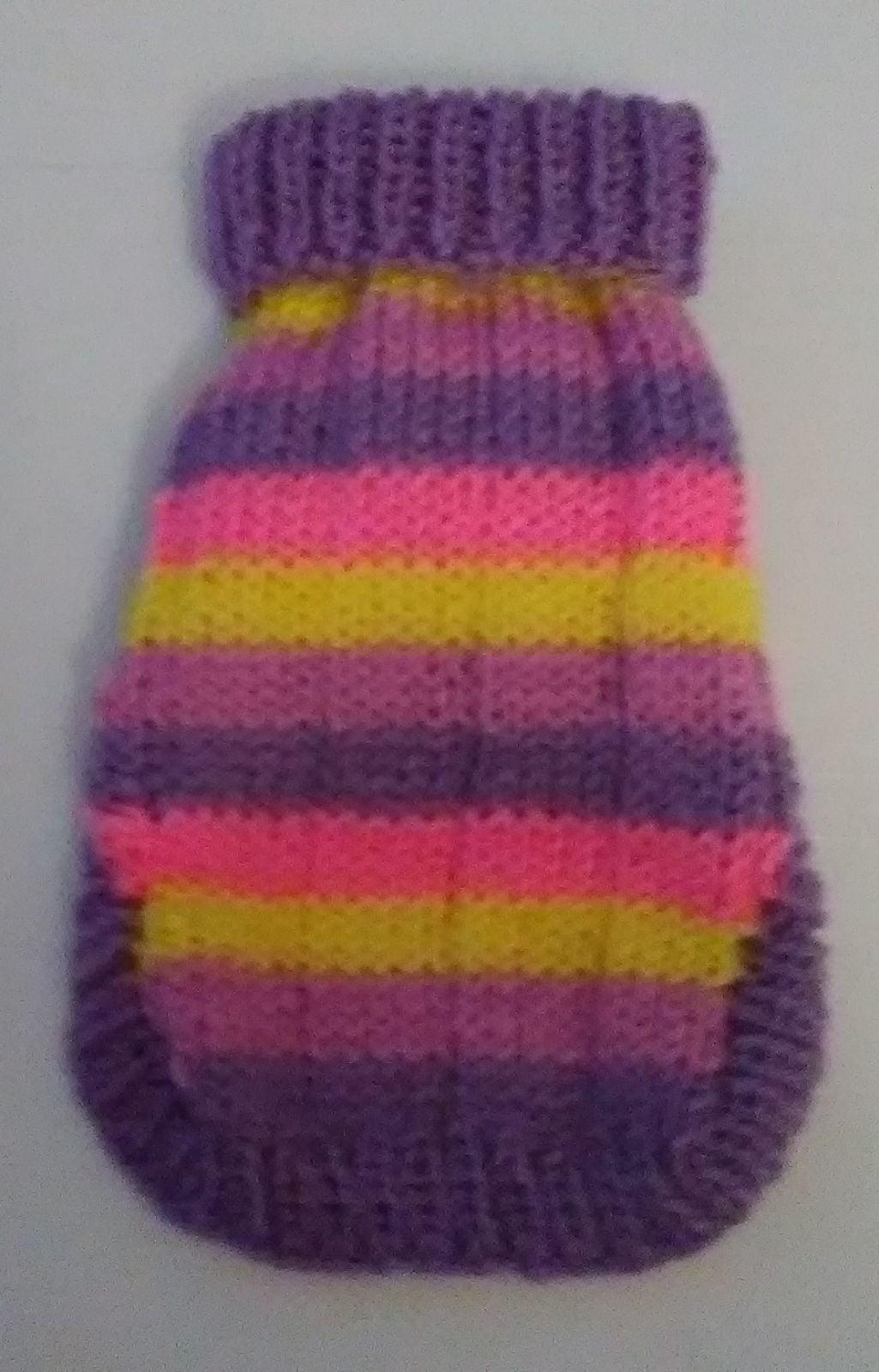 Dog sweater,, handknit, small, multi