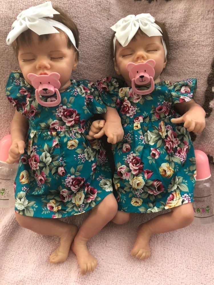 Reborn Twin Girl Baby Dolls Vinyl Body