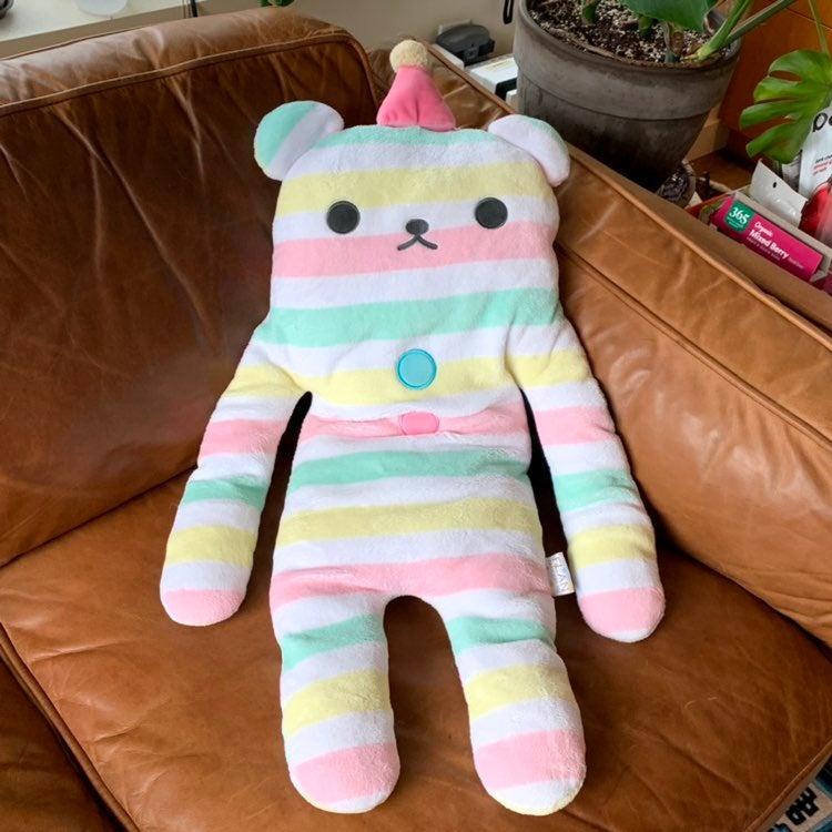 Kawaii Striped Bear Hug Flan Body Pillow