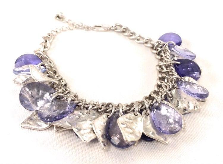 Hammered Silver & Blue Leaf Bracelet