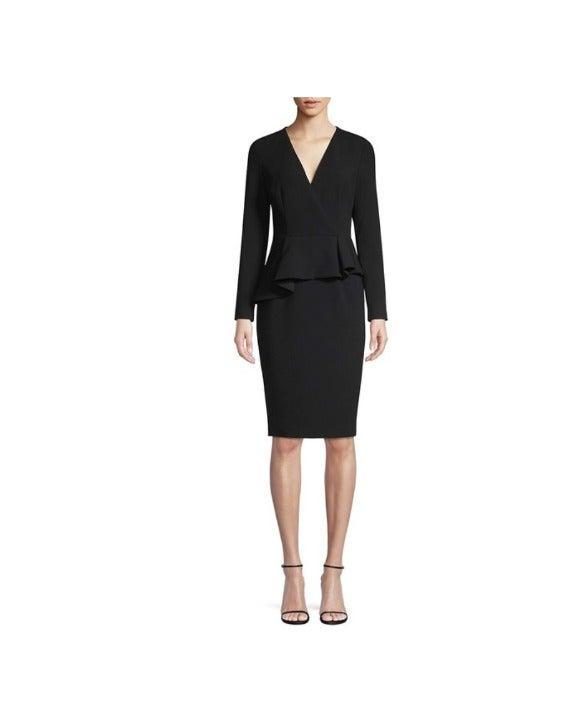 Jacquelyn Asymmetric Peplum Sheath Dress