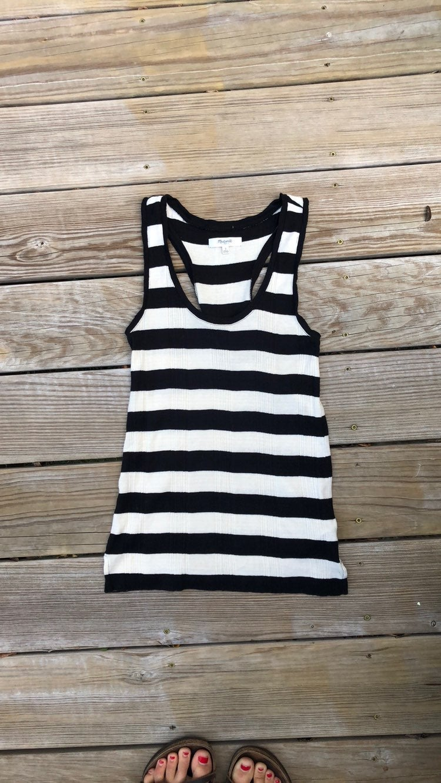 Madewell Black White Striped Tank Top