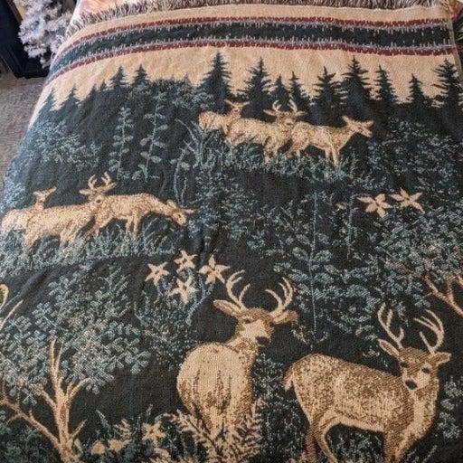 Crown Crafts Green Cottage Deer Blanket
