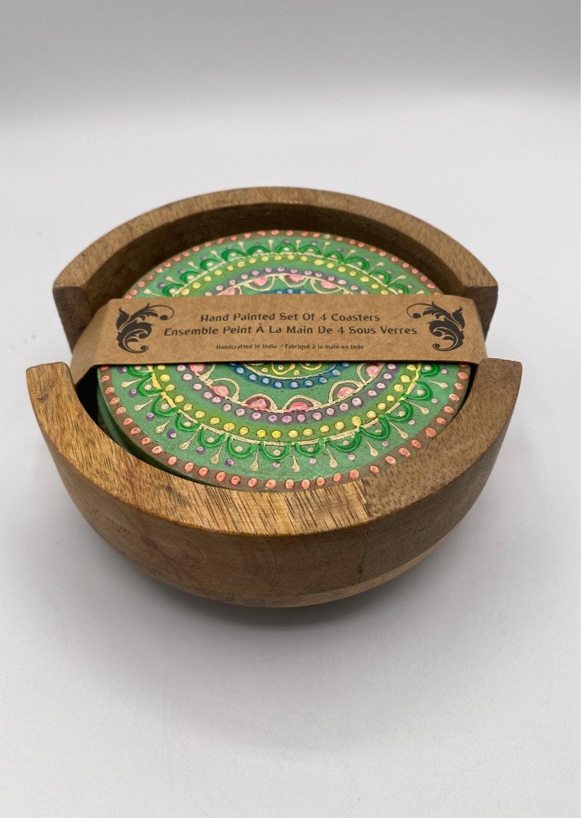 ~Handmade Painted Mandala Wood Coasters~