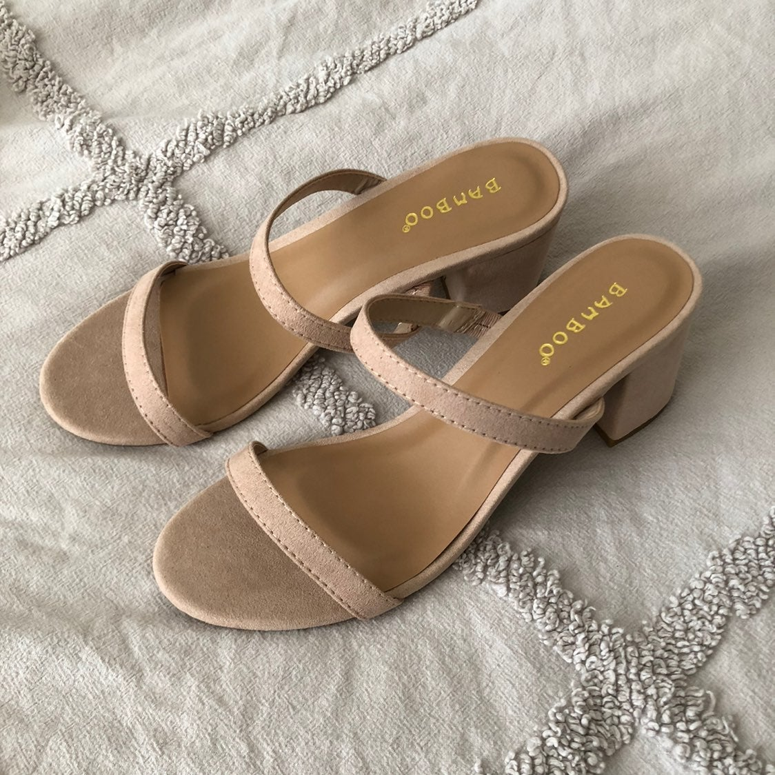 Bamboo Double Band Strap Sandals Heel