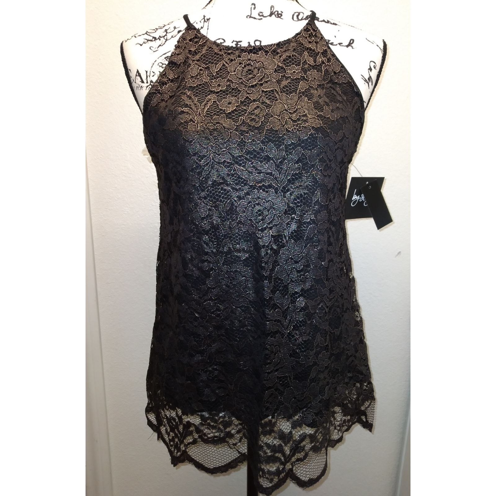 By & By black and gold lace top