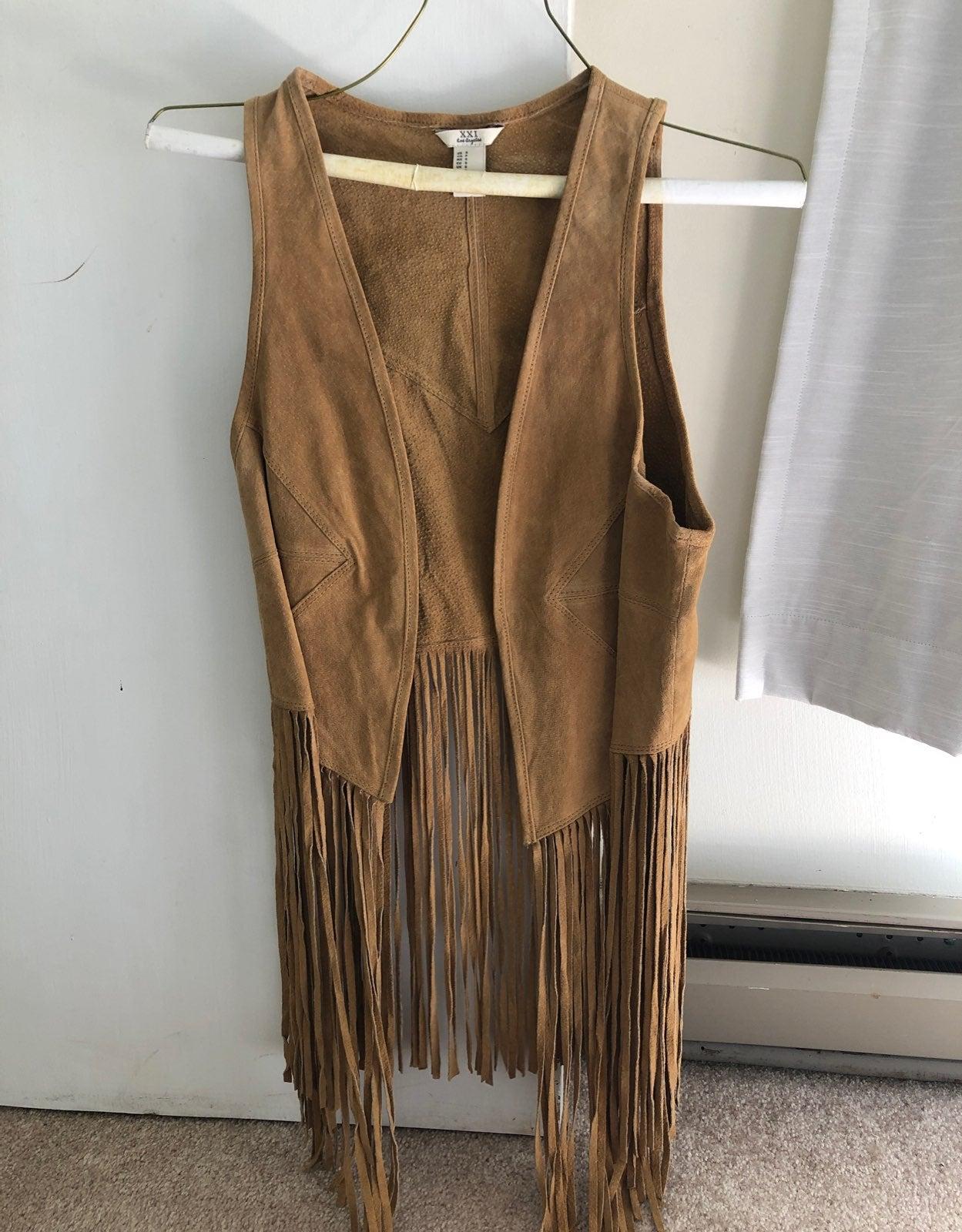 Forever 21 faux leather FRINGE VEST