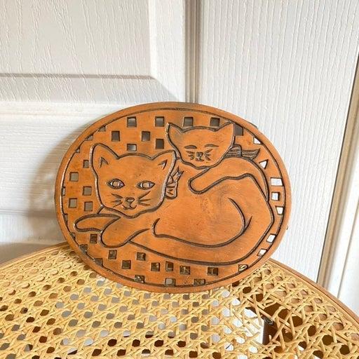 Vintage Copper Cat Plaque