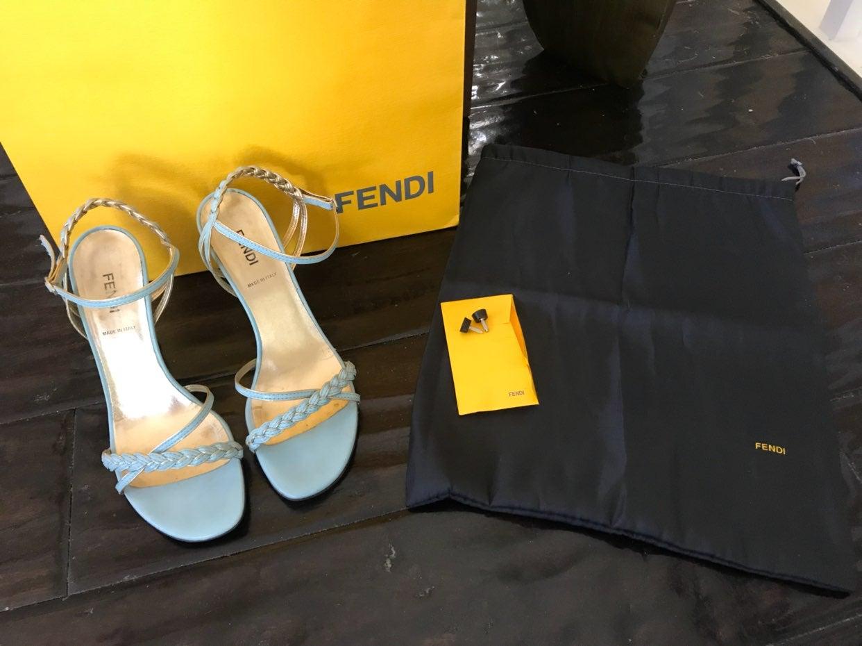 Fendi Braided Sandals Baby Blue/Gold