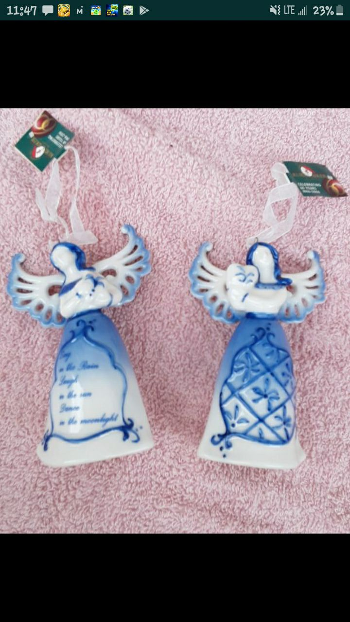 2 blue angel bell ornaments