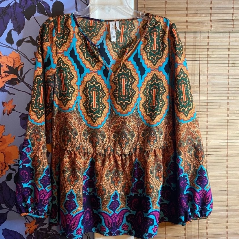 Boho long sleeve blouse sz med