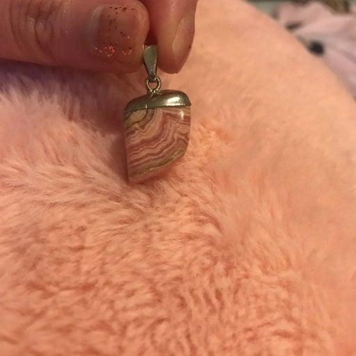 Rhodochrosite crystal pendant