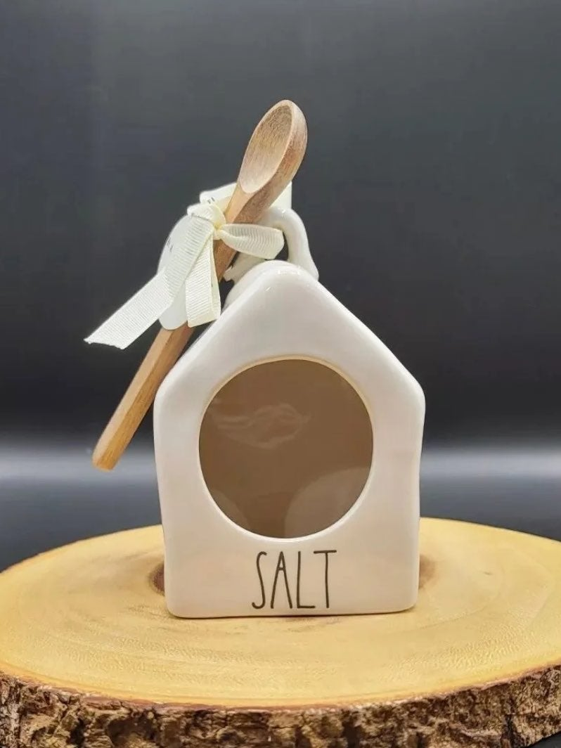 New Rae dunn salt pig birdhouse w spoon