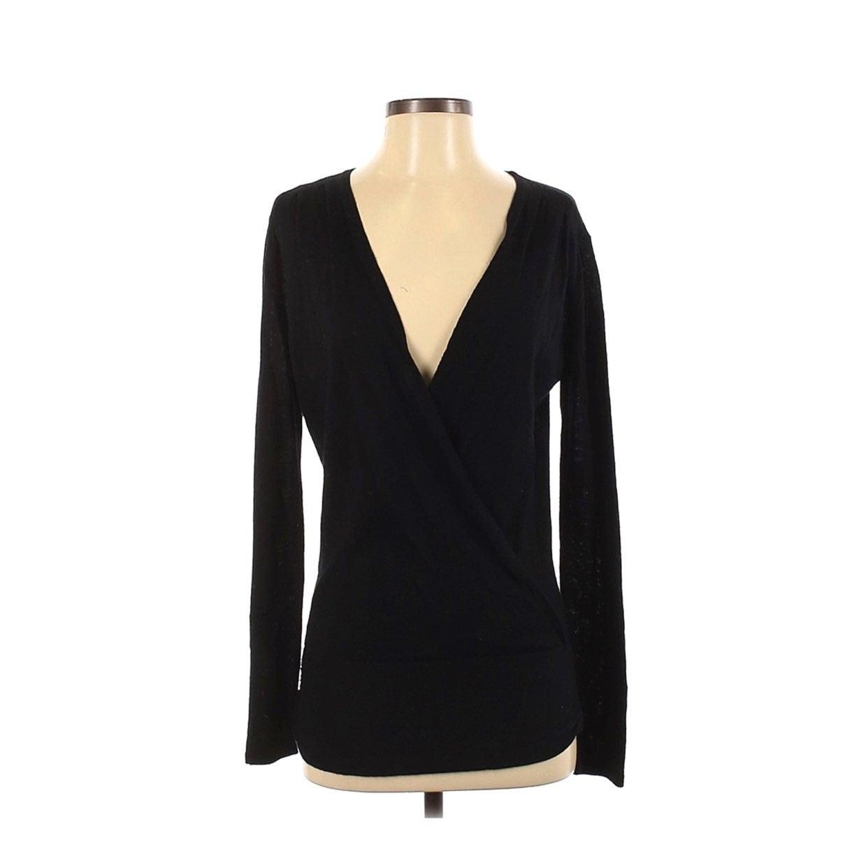 CAbi Black V Neck Wrap Sweater