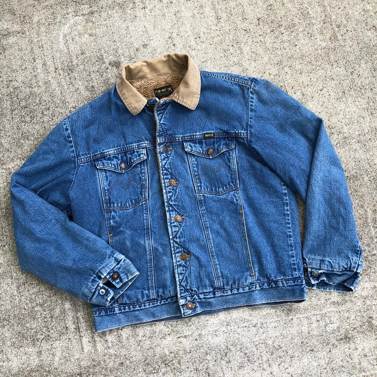 Vintage Maverick Denim Sherpa Jacket 80s