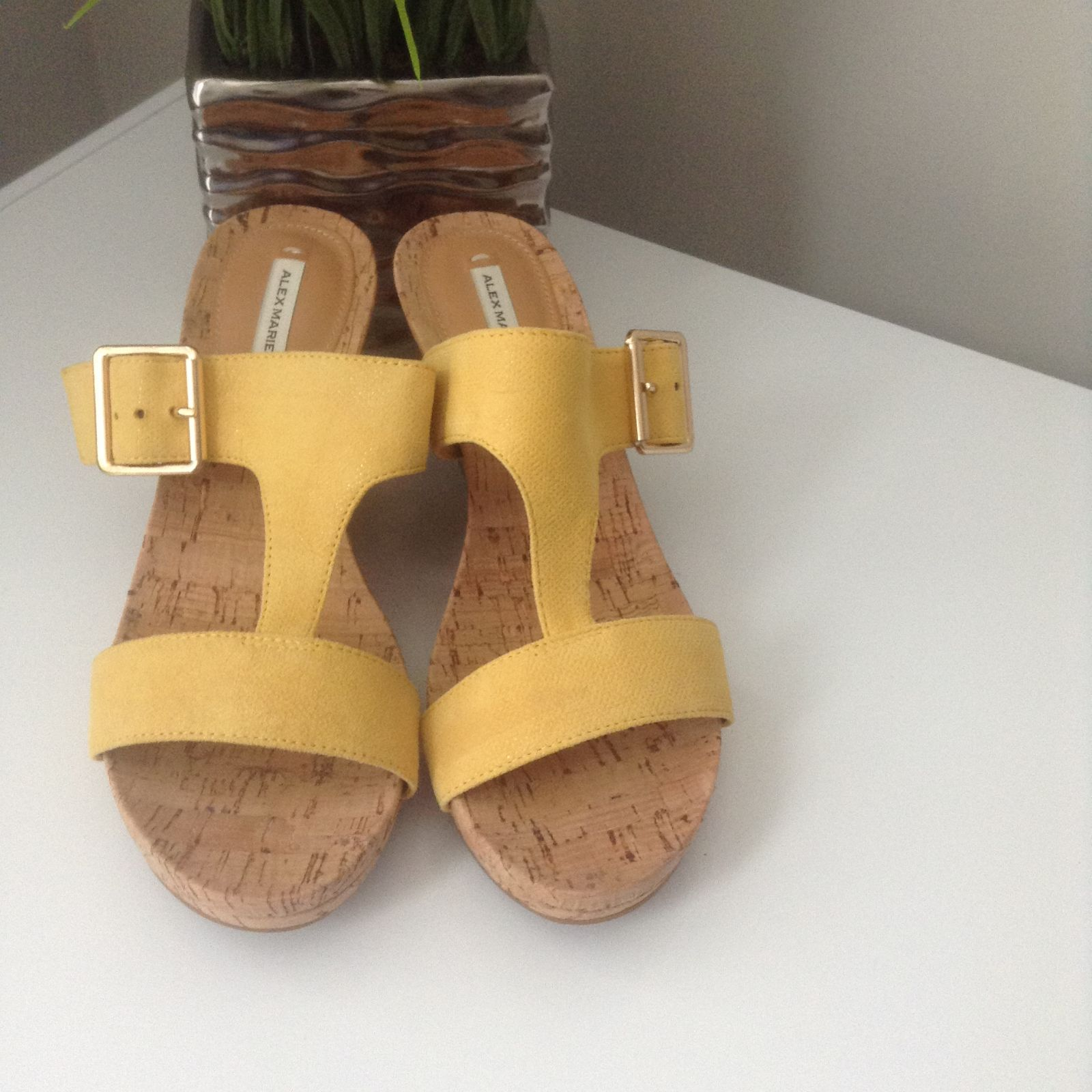 Alex Marie leather Yellow Wedge Sandals