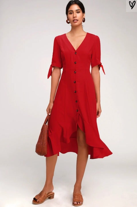 Red Button Front Tie Sleeve Ruffle Midi