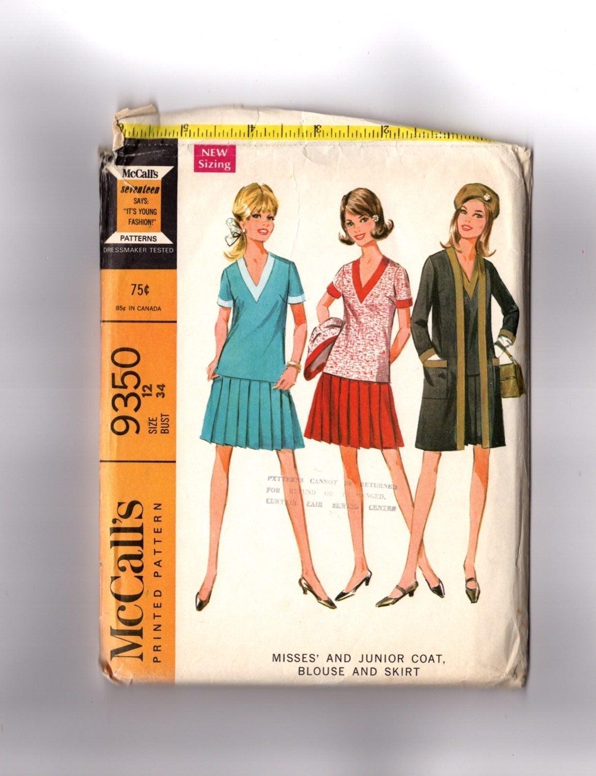 Vintage Pattern 1060s Coat Bloues Skirt