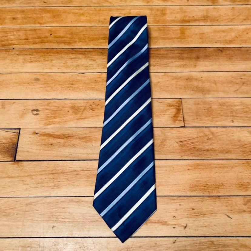 John Ashford Dress Tie - Navy Blue Strip