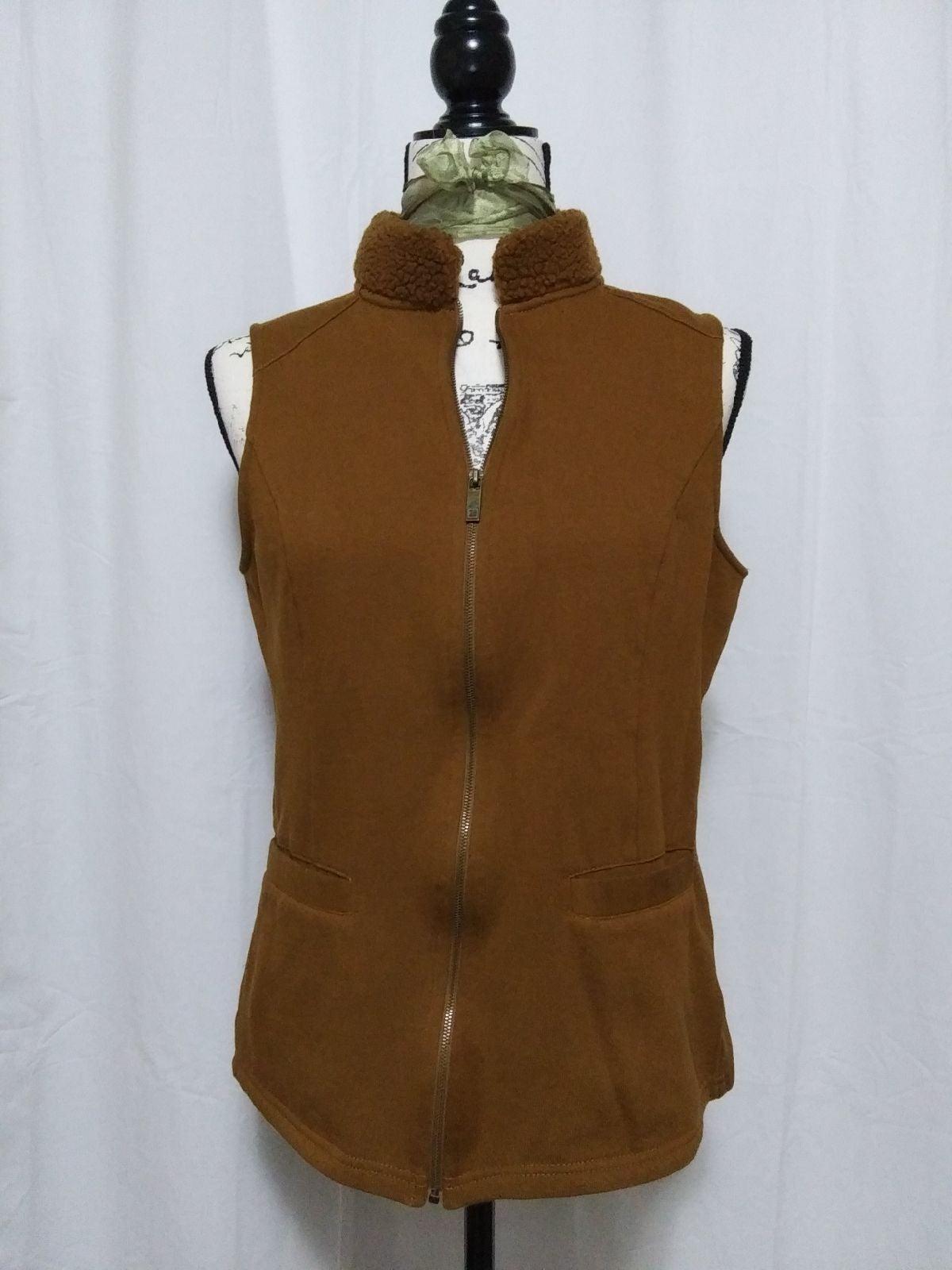 Sherpa fleece collar zippered vest