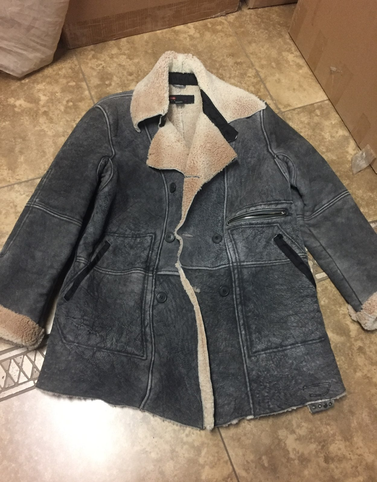 Diesel sherpa Jacket mens XL leather