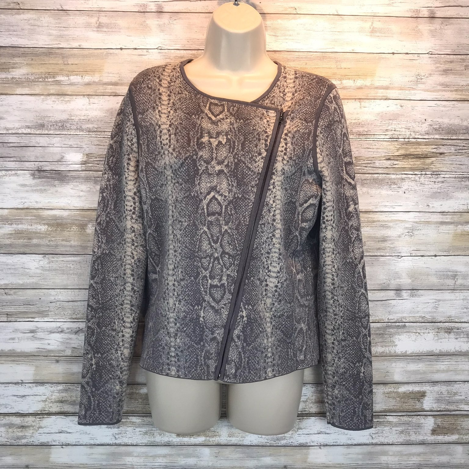 Ann Taylor Snakeskin Sweater Jacket M
