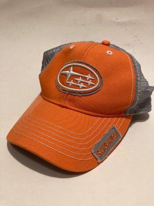 Orange Gray Subaru Automobiles Logo Hat