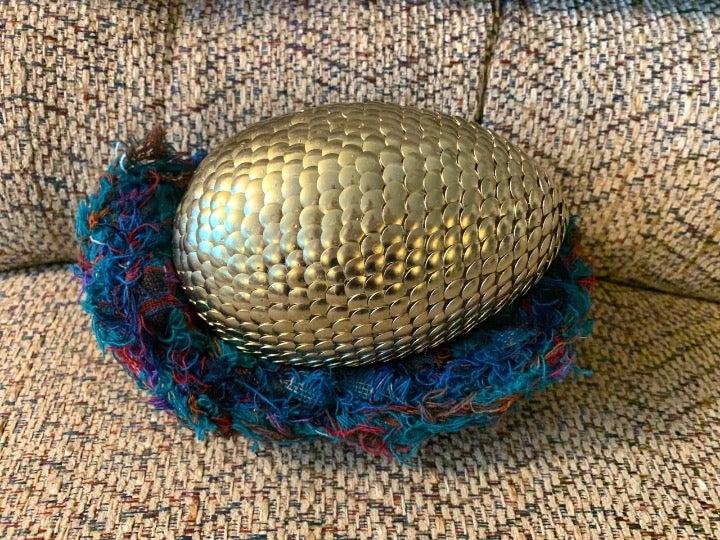 Large GOLD Dragon Egg & Basket
