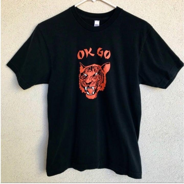 Rare! OK GO Band T-Shirt Black w/ Tiger