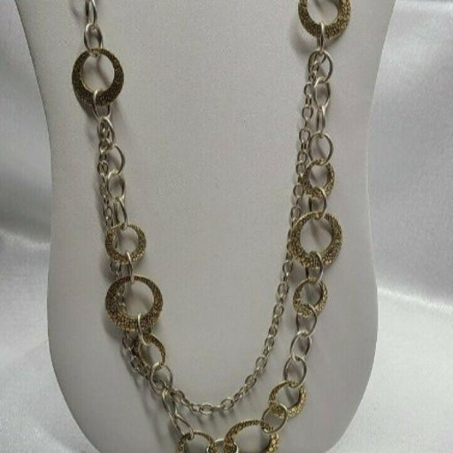 Premier Design Silver/Gold Shell-like Disc Necklace 22 Inches