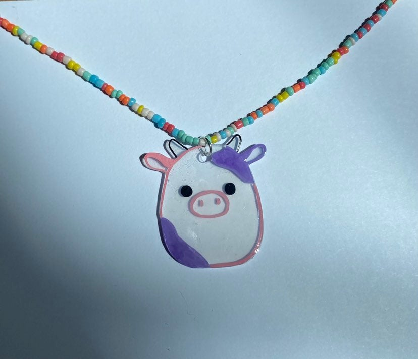 Squishmallow necklace- patty the cow!