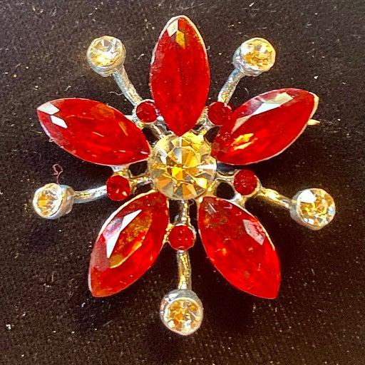 Vintage Ruby Rhinestone Burst Brooch