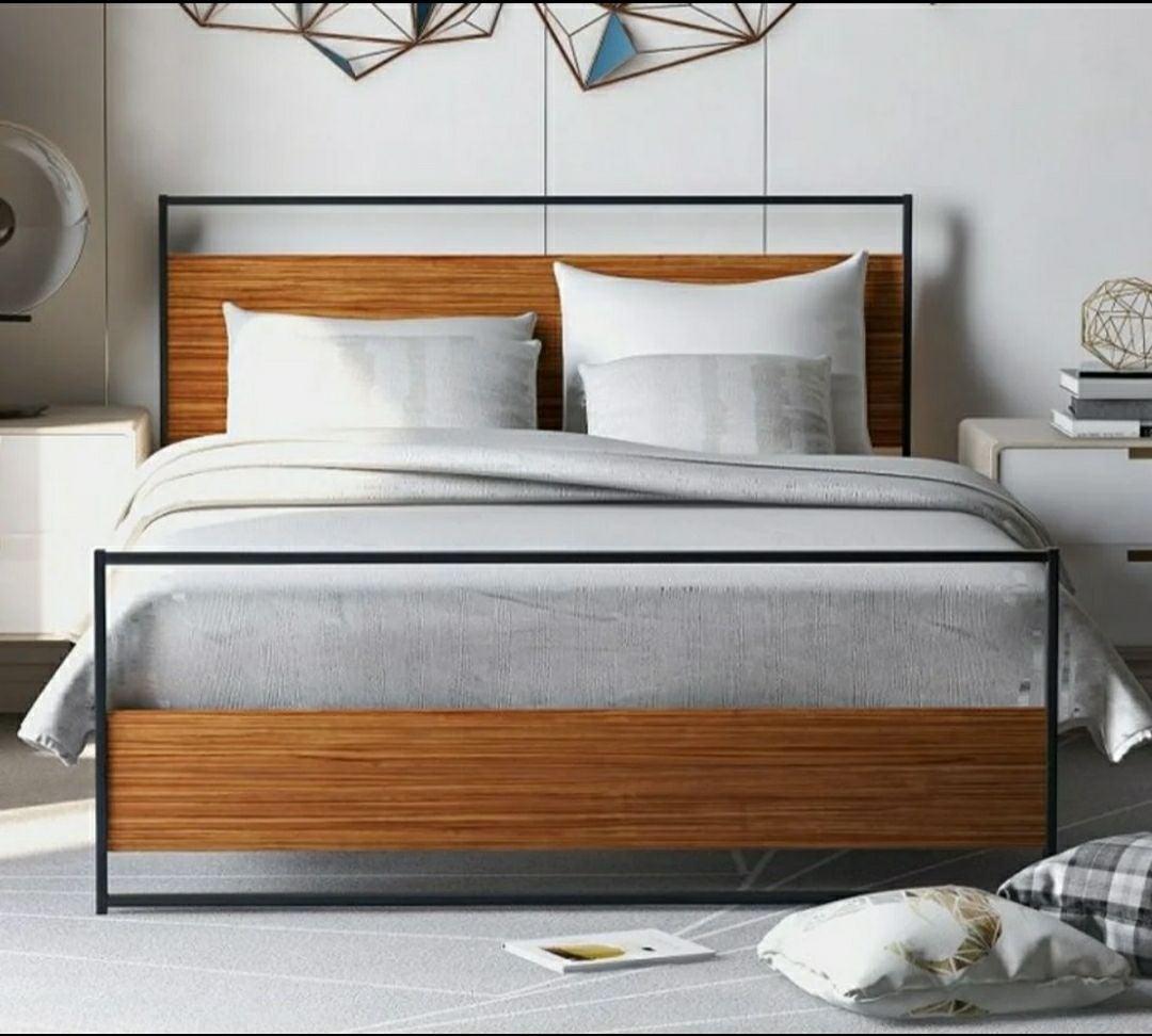 Full size wooden metal bed frame