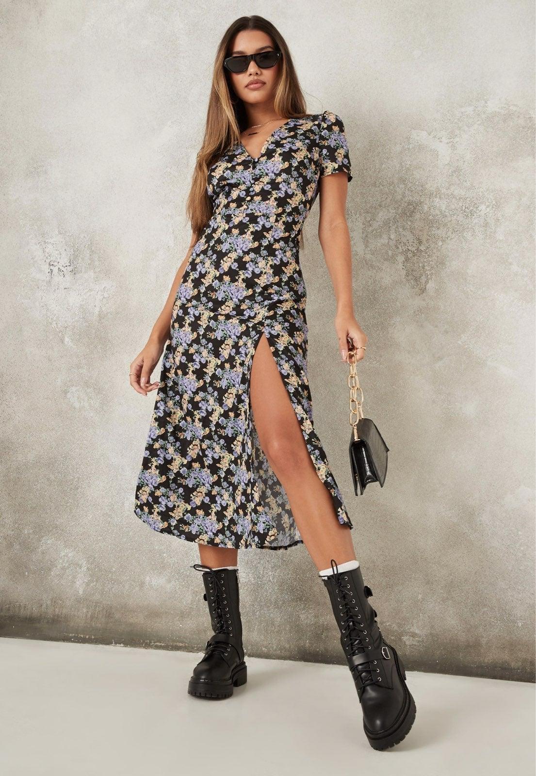 MISSGUIDED Half Button Midi Floral dress