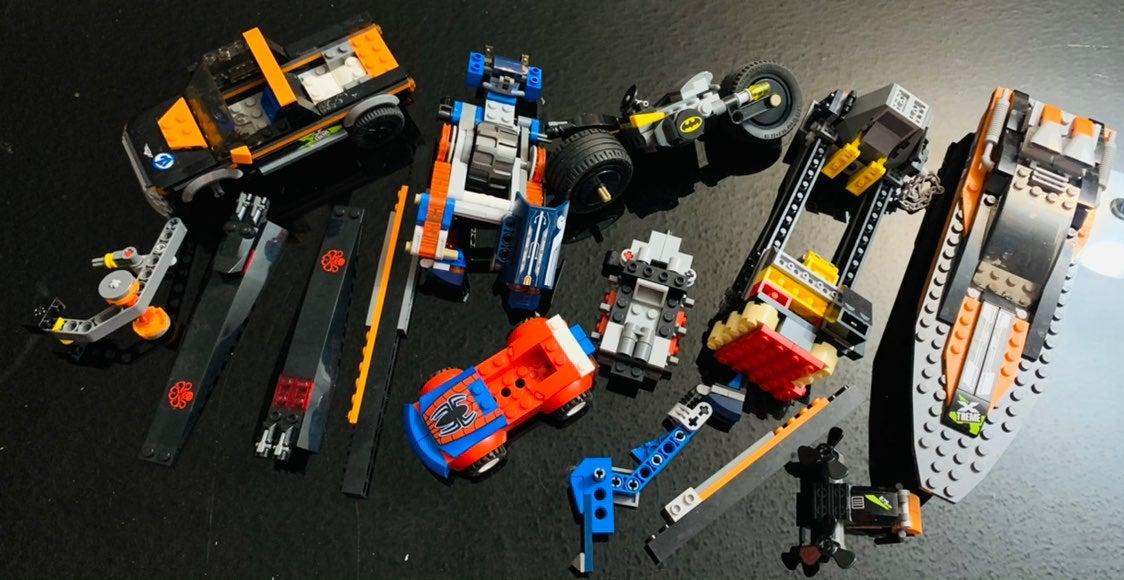 LEGOs... boat, truck, car, motorcycle