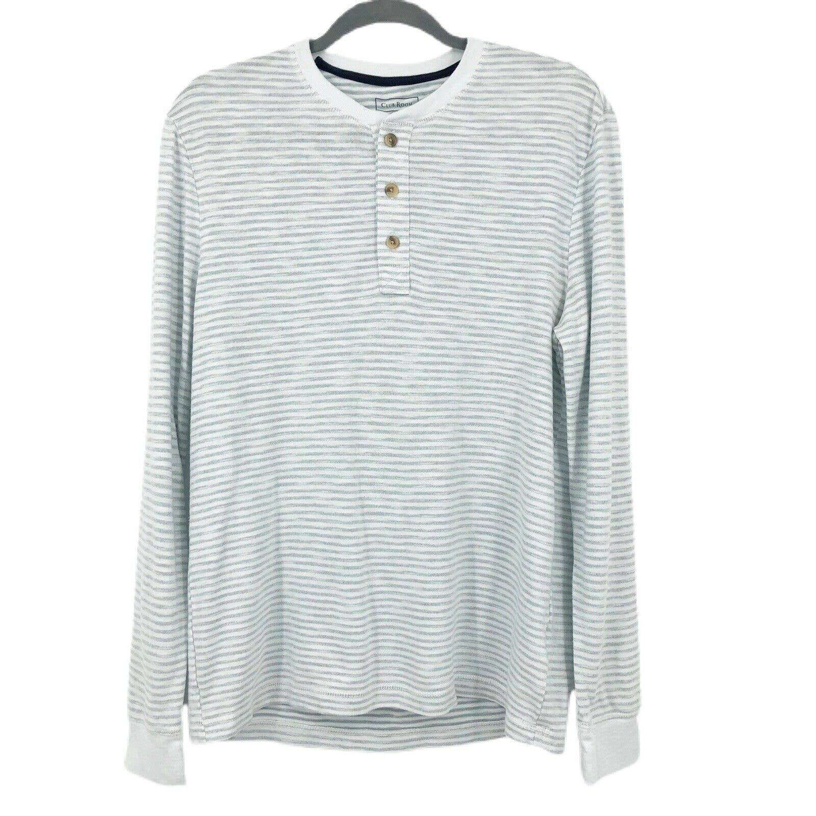 Club Room Henley Striped 1/4 Button Gray