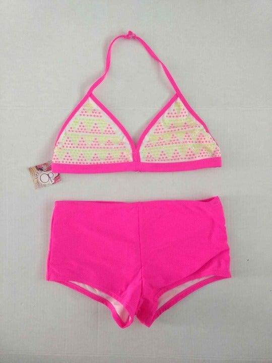 New Girls Swimsuit Bathing Suit Bikini 2 Piece Size XL 14 16 Pink Yellow Beaded