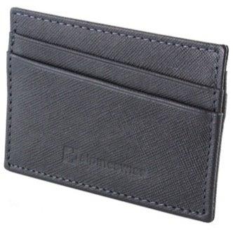 5 card Slim Minimalist Wallet Black Leat