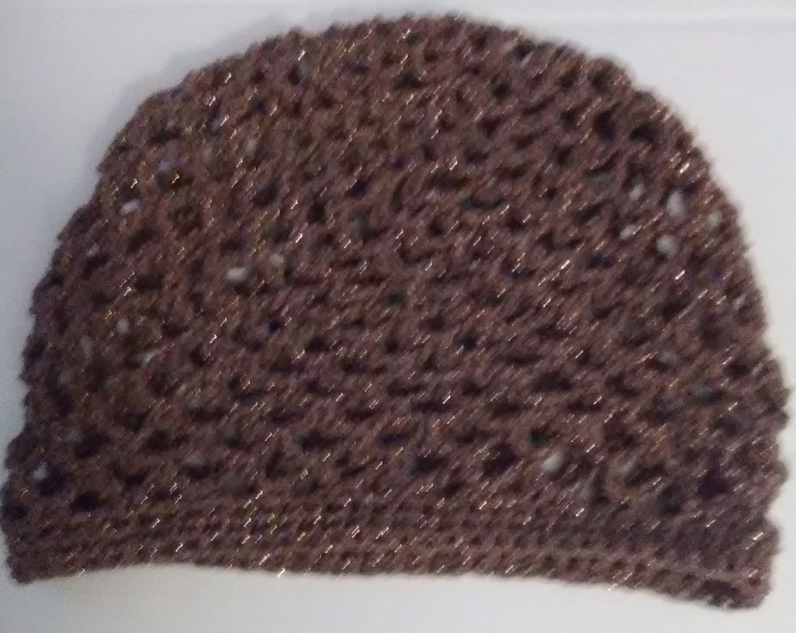 Cafe brown juliette cap, mesh crochet