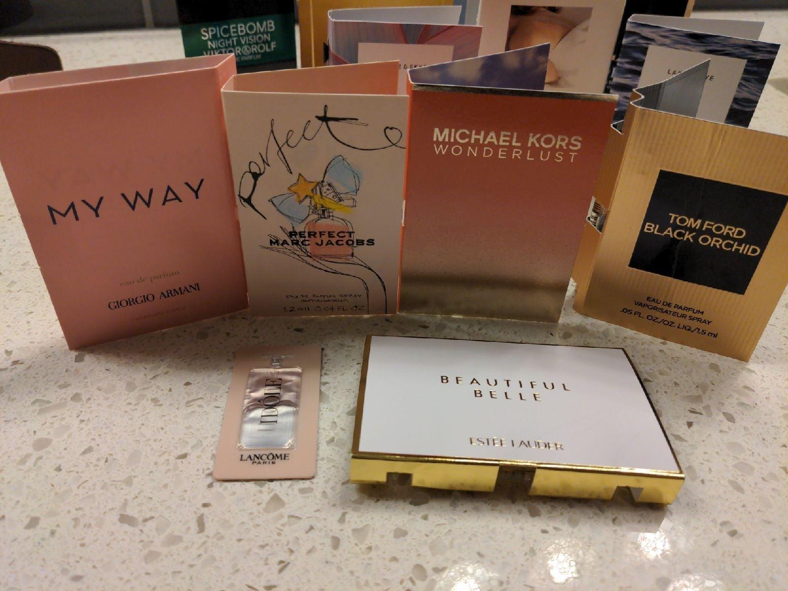 18 perfume samples