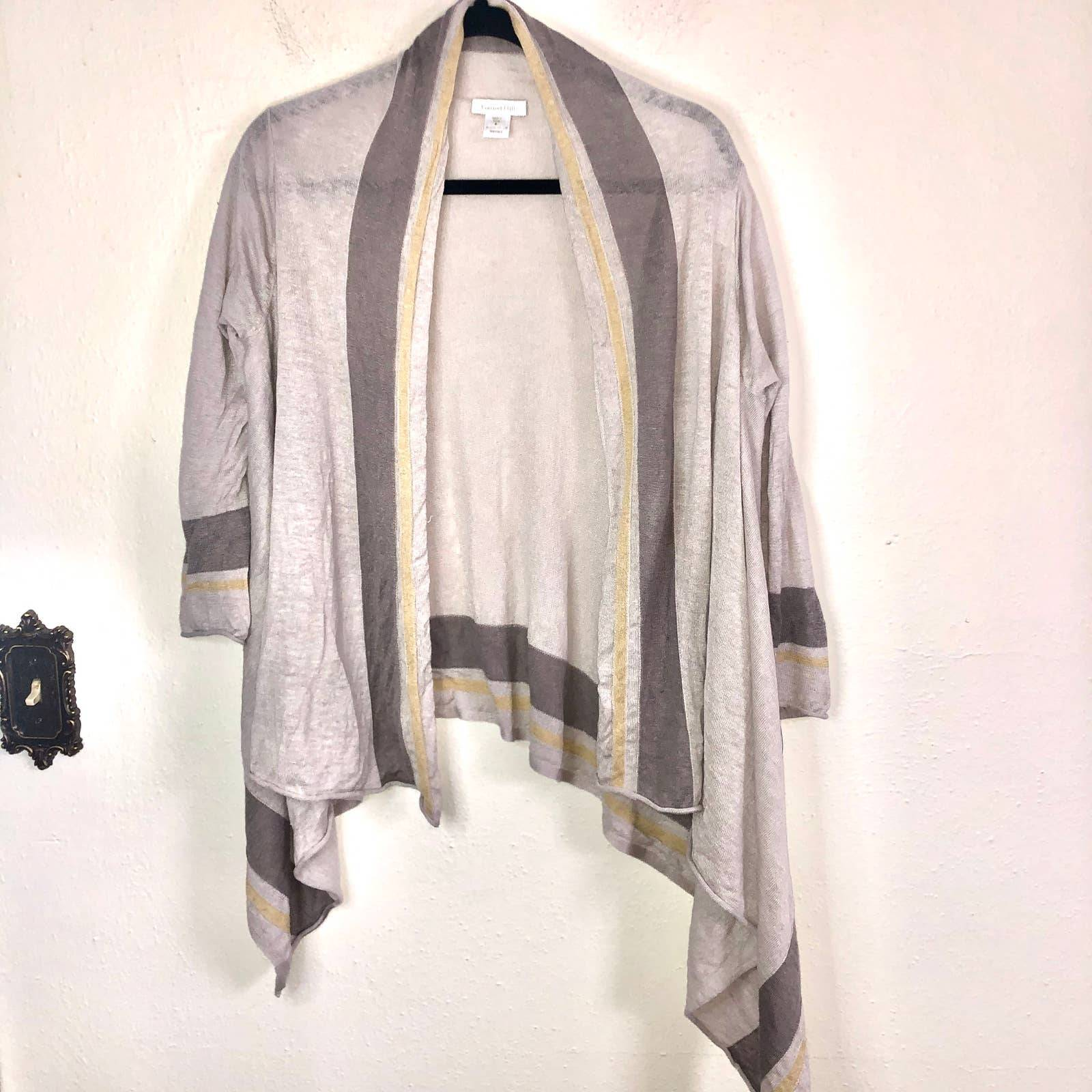 Garnet Hill Draped Linen Cardigan Small