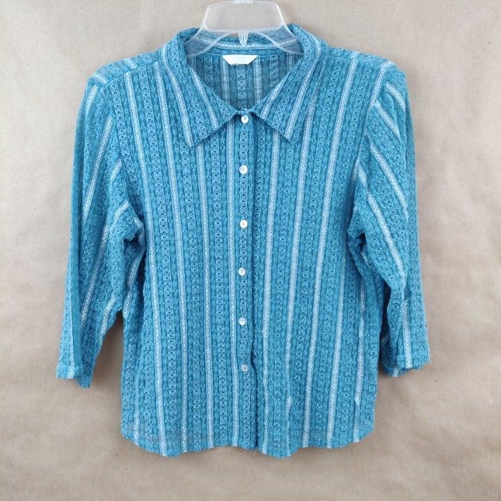Turquoise Button Down Blouse Size L