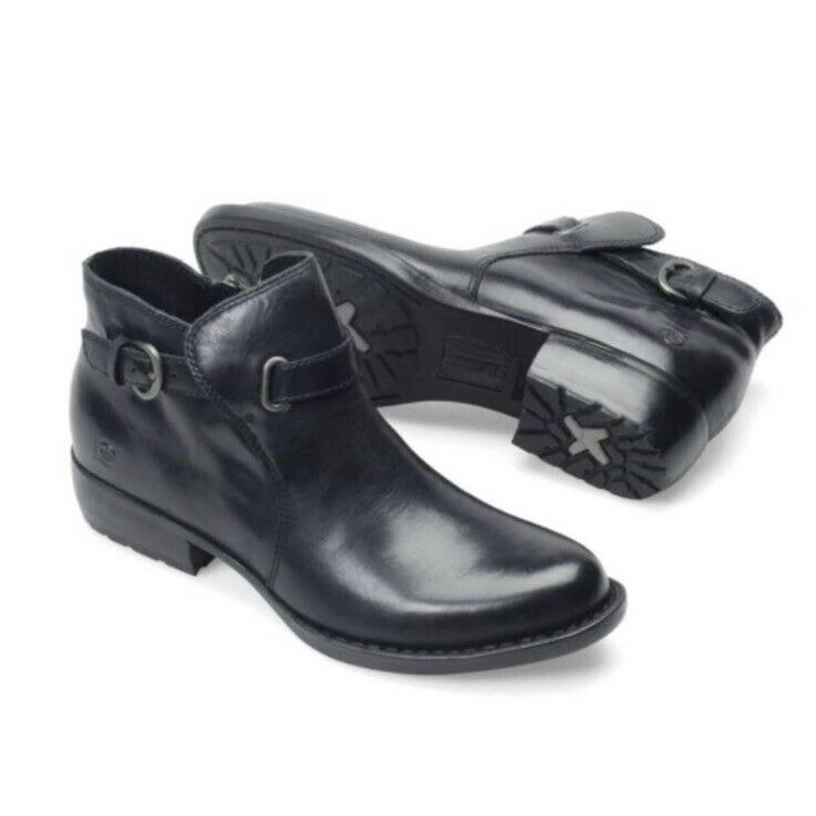 Born Jem Moto Black Leather Ankle Boot 9